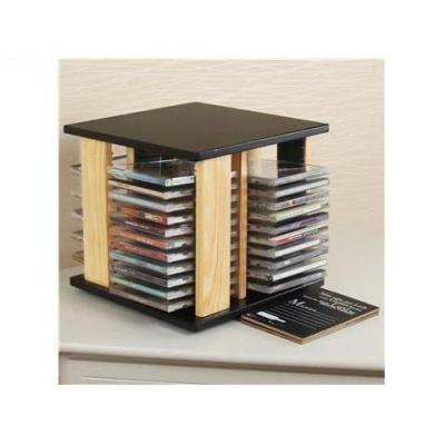 實木CD架 碟片架 光碟架 旋轉PS4游戲光盤收納盒大容量CD盒收納箱弧威