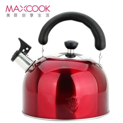 美廚(maxcook)304不銹鋼燒水壺 4L鳴音水壺 熱水壺 煤氣爐電磁爐通用 酒紅色歐式系列 MCWA560