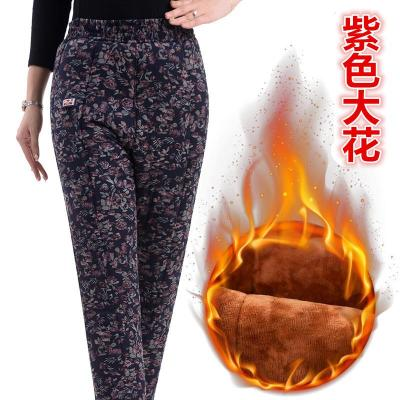 駝絨棉褲女三層加絨加厚高腰保暖褲冬季大碼寬松中老年外穿女褲子