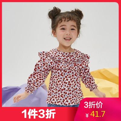 【1件3折價:41.7】moomoo童裝女幼童襯衫秋季新款女寶寶梭織印花上衣