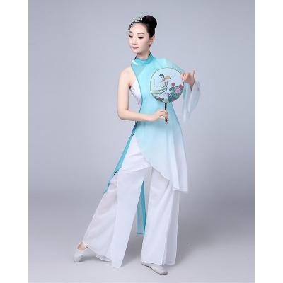 新款古典舞蹈演出服扇子民族舞服裝秧歌服成人飄逸中國風練功服女