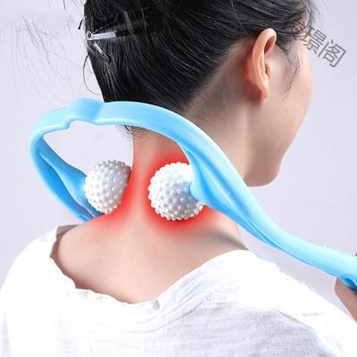 【蘇寧好貨】頸椎按摩器家用手動揉捏滾輪式手持式頸部按摩器夾脖子按摩夾肩頸