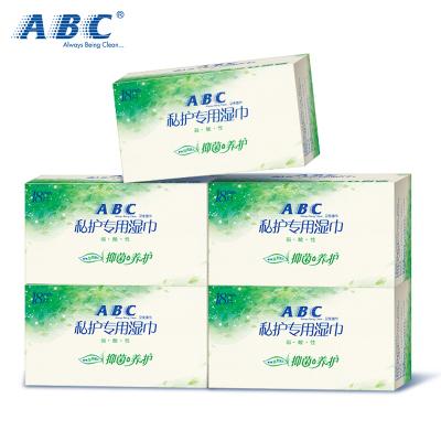 ABC女性私處衛生濕巾5盒(18片/盒) 澳洲茶樹 清爽溫和 女性濕巾