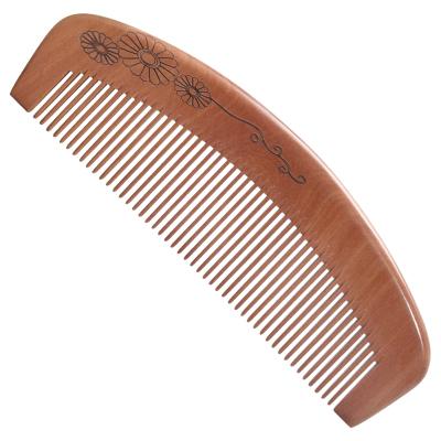 正品 天然桃木梳子 女生用長直發密齒梳子