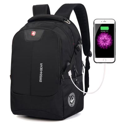 新16/17.3英寸USB雙肩包瑞士軍刀 雙肩背式電腦包運動休閑包 男女學生書包尼龍旅行包
