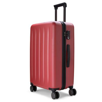 90分旅行箱 靜音萬向輪行李箱大容量防爆密碼箱 純PC拉鏈拉桿箱男女旅行箱 星云紅 28寸