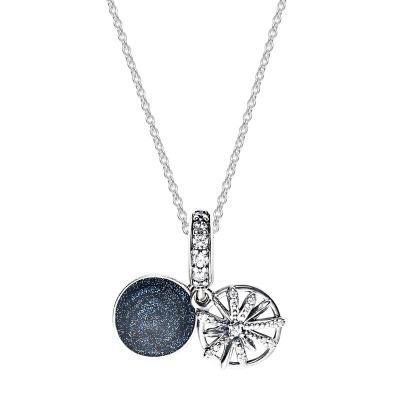 PANDORA潘多拉 925銀耀目心愿藍色項鏈禮品套裝 SP-001