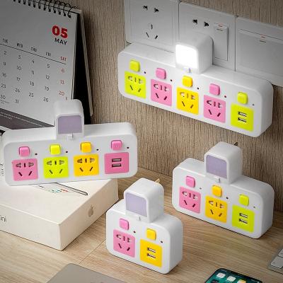 闪电客防雷带小夜灯电源usb转换器插头一转多位无线扩展多功能插座排插 【双USB+开关夜灯+防雷】一转五