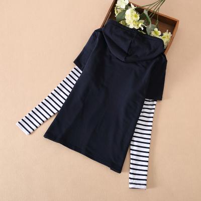 春秋裝女童體恤假兩件長袖T恤上衣中大童衛衣童裝藏青