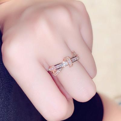新款時尚韓版歐美精致超閃鑲水鉆氣質百搭開口戒指食指指環女配飾