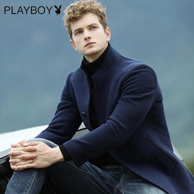 花花公子(PLAYBOYICON)男士秋冬季時尚休閑商務立領羊毛大衣