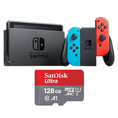 【内存套餐】任天堂 Nintendo Switch 国行续航加强版红蓝主机 &128G 闪迪卡