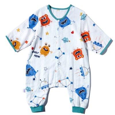 嬰兒睡袋春秋款夏季純棉薄款紗布分腿寶寶兒童防踢被神器四季通用