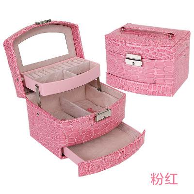 鳄鱼纹自动首饰盒 皮革三层饰品盒收纳 欧美珠宝首饰盒化妆箱 粉红