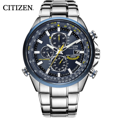 西铁城(CITIZEN)手表 蓝天使石英光动能多局电波表运动腕表男士手表AT8020-54L