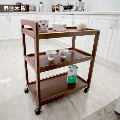实木餐车家用三层小推车移动置物架子火锅边柜厨房收纳滑轮子车子
