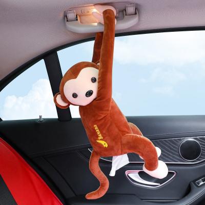 華飾 車載紙巾盒抽紙盒車用紙巾盒車用掛式創意猴子公仔紙巾盒汽車車內飾品擺件