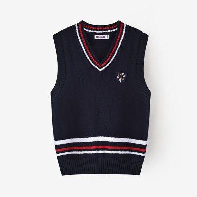 鉛筆俱樂部童裝2020秋冬新款男童背心毛衣V領大童針織衫兒童毛衫