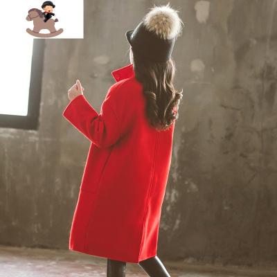 兒童洋氣毛呢加厚外套中長款呢子女童大衣秋冬裝2019新款雙面羊絨