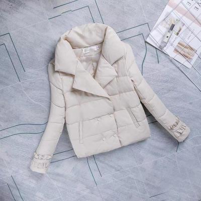 莎丞 木耳邊袖短款棉衣女冬季新款韓版女裝雙排扣羽絨棉服棉襖排扣羽絨