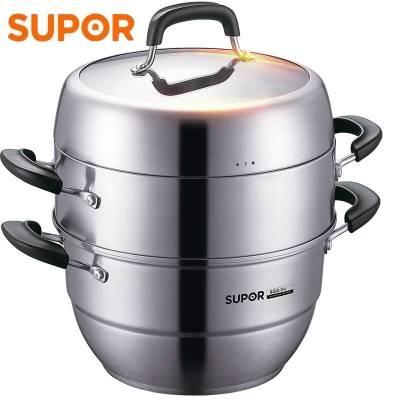 蘇泊爾/SUPOR SZ30V1 304不銹鋼蒸鍋30CM三層多層加厚復底電磁爐通用鍋具