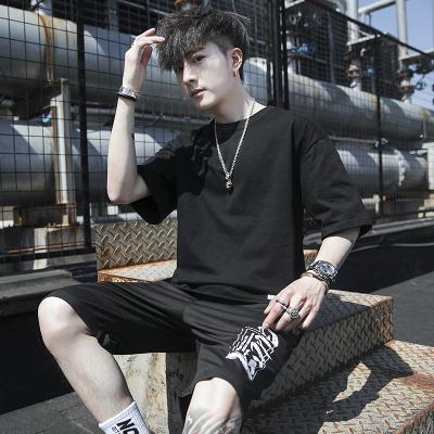 波斯萊 t恤男士短袖夏季一套裝韓版潮流男裝運動休閑帥氣搭配長褲子夏裝B