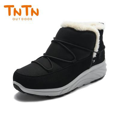 TNTN户外冬季保暖防水厚底俄罗斯东北羊毛加绒女士鞋雪乡地棉靴子(爵士黑)