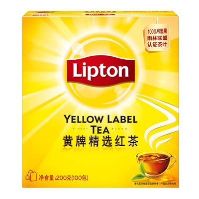 立顿Lipton 红茶叶 黄牌精选经典 办公室下午茶 袋泡茶包 2g*100包 (新老包装随机发货)