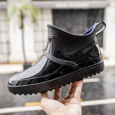 雨鞋男低幫韓國時尚潮流膠鞋四季防滑防水鞋成人雨靴男士短筒套鞋 瓷里茶