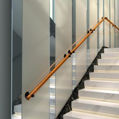 歐式靠墻樓梯扶手實木別墅閣樓室內老人防滑拉手家用通道走廊扶手 150cm2個固定點