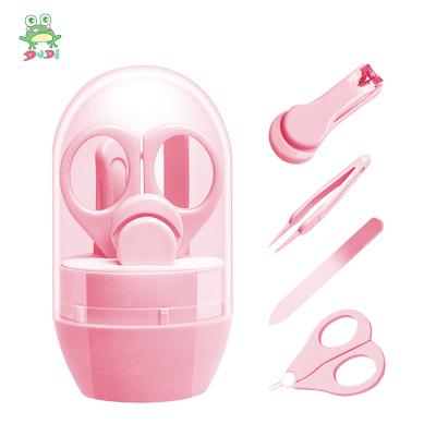 DuDi/青蛙嘟迪 母嬰幼兒童嬰兒指甲剪套裝剪刀新生兒寶寶剪指甲刀兒童小孩安全防夾肉指甲鉗 粉色