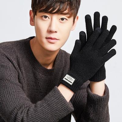 触屏毛线手套男士冬季保暖加厚防滑开车户外全指手套秋