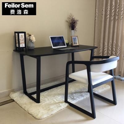 唐臻北歐書桌實木辦公桌黑現代簡約電腦桌寫字臺書房家具套裝組合家用