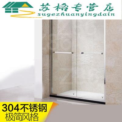 定制淋浴房一字形304不锈钢黑色整体简易玻璃隔断定制沐浴淋浴房 航空铝升级款 亮银色 不含蒸汽