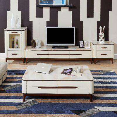 枳记家 大理石茶几电视柜组合客厅简约现代小户型北欧式实木地柜成套家具