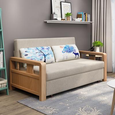 實木沙發床可折疊客廳小戶型閃電客雙人1.5米布藝坐臥兩用1.8伸縮多功能