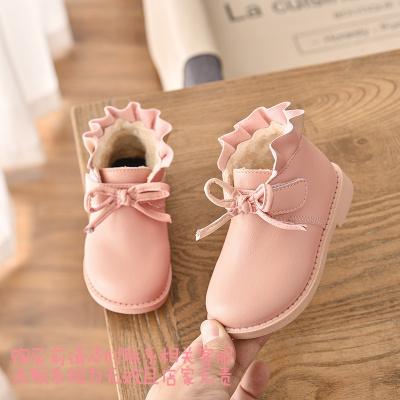 2019冬季新款童鞋儿童时尚皮鞋女童加绒小皮靴子软底棉靴宝宝鞋 粉色 24码内长15厘米