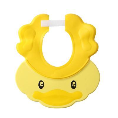寶貝時代(babyyuga)小鴨兒童洗頭帽男女寶寶洗澡帽小孩可調節護耳浴帽硅膠洗發帽 黃色