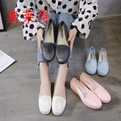 斯萊得四季淺口膠鞋孕婦護士時尚韓版平底雨鞋女廚房鞋防水鞋防滑工作鞋