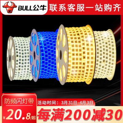 bullL公牛led燈帶光源暖白冷白燈帶客廳臥室照明220v貼片柔性雙排條燈光燈LED光源