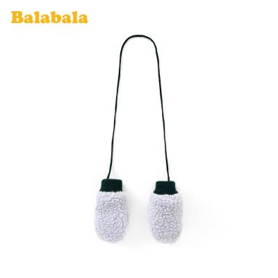 巴拉巴拉女童手套冬季新款加厚保暖加絨兒童可愛羊羔毛掛脖包指男