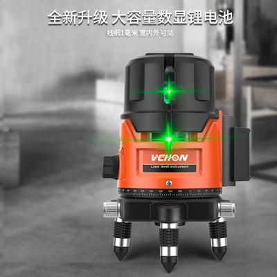 綠光水平儀水準儀戶外激光投線儀VCHON高精度5線3線2線超強光 加強綠光2線防摔塑箱+雙鋰電