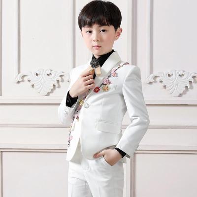 新品热卖花童西装套装白色绣花帅气儿童西服休闲中大童走秀演出服男童春款潮款