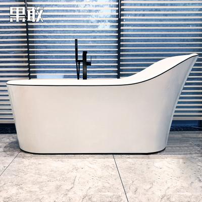 果敢超薄邊浴缸黑線條小戶型衛生間內空大浴缸1.5-1.7米071