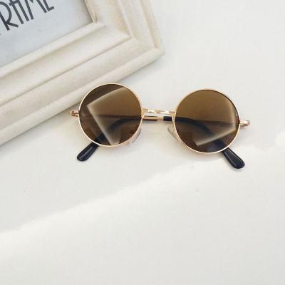 2019年儿童圆框眼镜复古金属小圆形墨镜宝宝可爱男童萌小眼镜运动太阳镜潮女圆形玻璃镜片 威珺