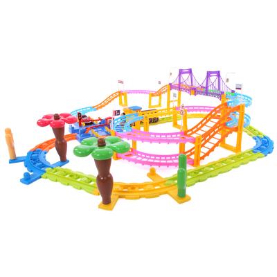 貝恩施 積木小火車套裝3488 多層大軌道 軌道車玩具男孩電動火車兒童玩具3-6歲