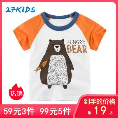 27Kids 兒童T恤韓版時尚卡通童裝春夏季短袖T恤男女通用寶寶衣服