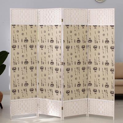 京好 折叠屏风简约环保实木纯手工编织植物办公室隔断墙美容院遮挡客厅卧室围栏Ei143