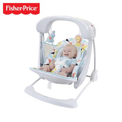 费雪Fisher-Price 2合1便携电动秋千摇椅 婴儿宝宝安抚哄睡躺摇椅 儿童玩具0-9个月 GDT69