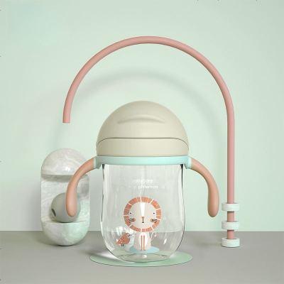 babycare兒童水杯 夏季喝水幼兒園寶寶防漏防嗆吸管杯帶重力球學飲杯 淡藻綠240ml